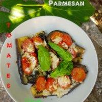 Aubergines à la poêle, aux tomates confites et basilic
